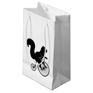 Squirrel Rider on Old Bike Small Gift Bag