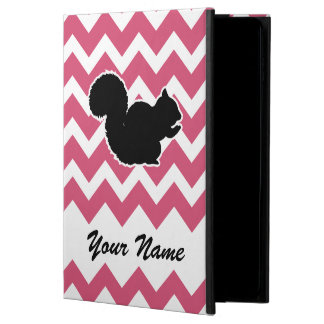 Squirrel Silhouette with Pink Chevron Pattern