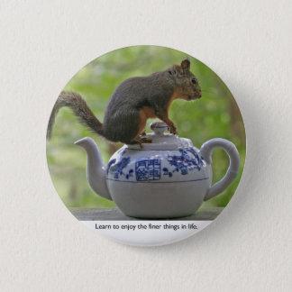 Squirrel Sitting on a Teapot 6 Cm Round Badge