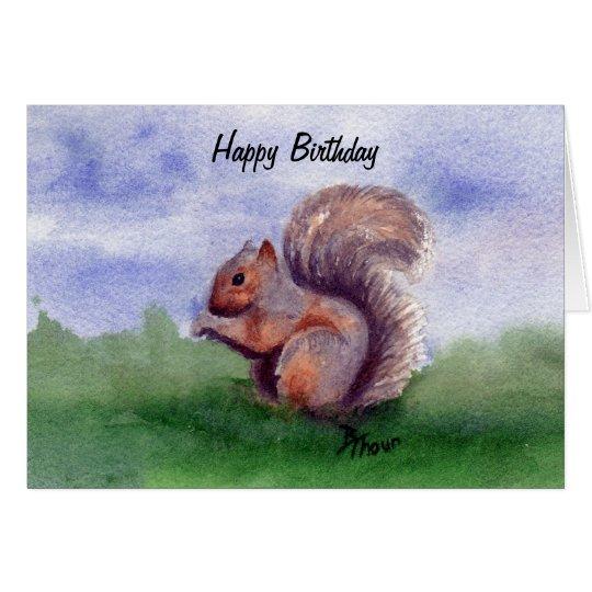Squirrel Study Birthday Card