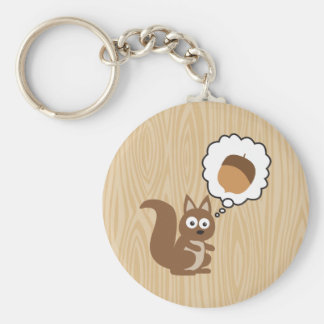 Squirrel Thinking About Nut Key Ring