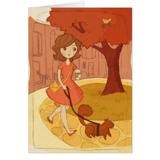Squirrel Walking in the Fall Card
