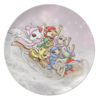 Squirrel winter fun plate