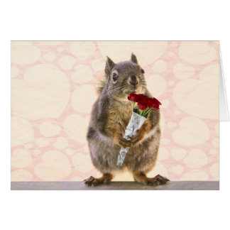 Squirrel with Bouquet of Red Roses Card