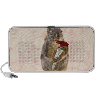 Squirrel with Bouquet of Red Roses iPhone Speaker