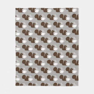 Squirrel with Coffee Pattern Fleece Blanket