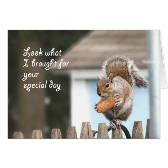 Squirrel with cookie Happy Birthday card - Funny