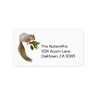 Squirrel with Holly Address Labels