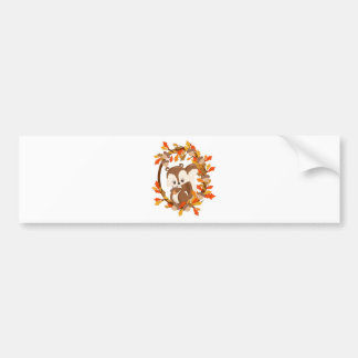 Squirrel  with nuts WOODLAND CRITTERS- wreath Bumper Sticker