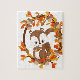 Squirrel  with nuts WOODLAND CRITTERS- wreath Puzzle