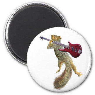 Squirrel with Red Guitar Magnet
