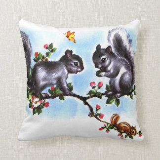 Squirrels and Chipmunk Vintage Storybook Art Cushion