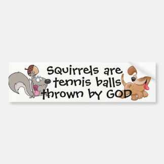 Squirrels are tennis balls... bumper sticker