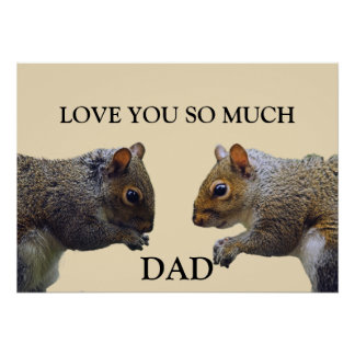 Squirrels Fathers Day Card Poster