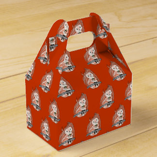 Squirrel's Holiday Pattern on Red Favour Box