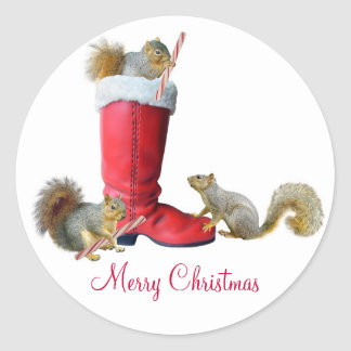 Squirrels in Santa's Boot Stickers