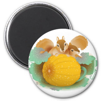 squirrels in the pumpkin patch 6 cm round magnet