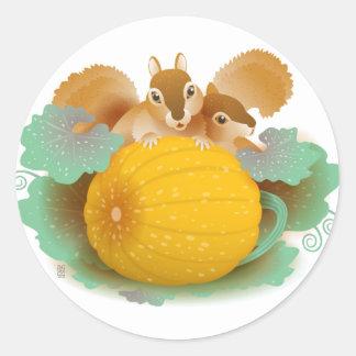 squirrels in the pumpkin patch round sticker