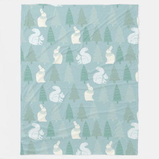 Squirrels, pine tree pattern - Christmas gifts Fleece Blanket