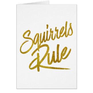 Squirrels Rule Gold Faux Foil Metallic Glitter Card