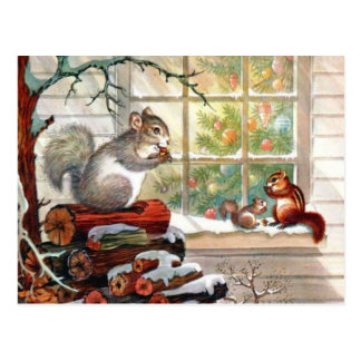Squirrels Vintage Christmas Post card