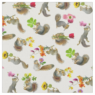 Squirrels with Flowers Fabric
