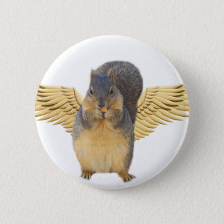Squirrels with wings_Button 6 Cm Round Badge