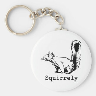 Squirrely Basic Round Button Key Ring