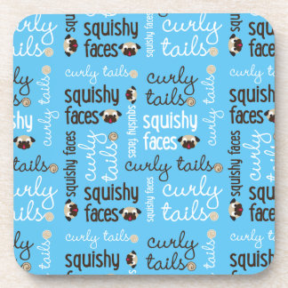Squishy Faces Curly Tails Pug Coaster Set