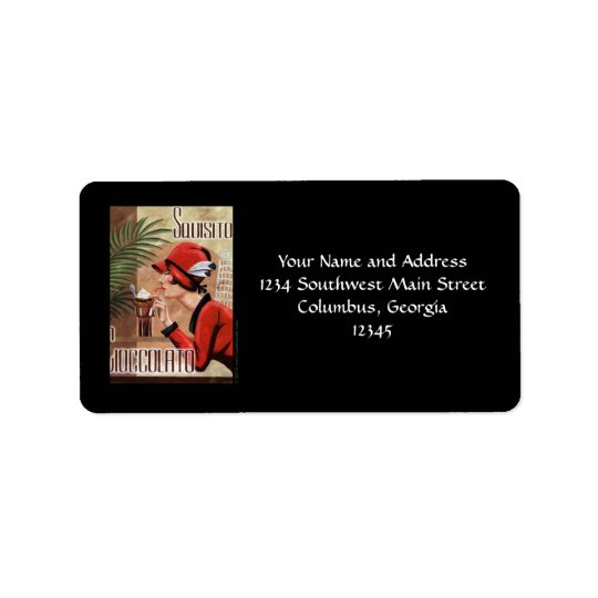 Squisito Cioccolato Italian Chocolate Woman in Red Address Label