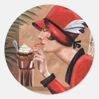 Squisito Cioccolato Italian Chocolate Woman in Red Round Sticker