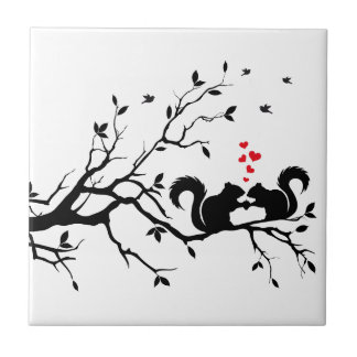 Squrrels with red hearts on tree branch small square tile