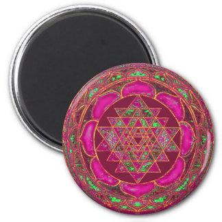 Sri Lakshmi Yantra Mandala 6 Cm Round Magnet