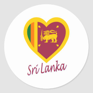 Sri Lanka Flag Heart Classic Round Sticker