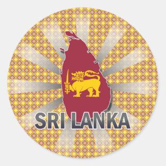 Sri Lanka Flag Map 2.0 Classic Round Sticker