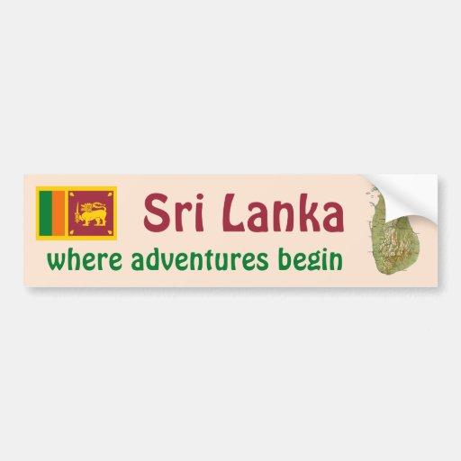 Sri Lanka Flag + Map Bumper Sticker