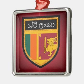 Sri Lanka Flag Silver-Colored Square Decoration