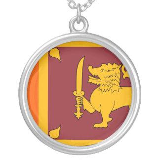 Sri Lanka Flag Silver Plated Necklace