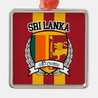 Sri Lanka Silver-Colored Square Decoration