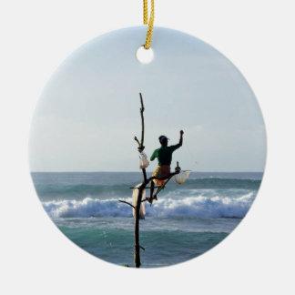Sri Lanka stick fishermen fishing Marissa Bay Round Ceramic Decoration