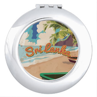 Sri Lanka Vintage Vacation Poster Compact Mirrors