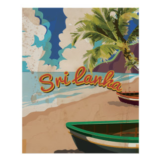 Sri Lanka Vintage Vacation Travel Poster