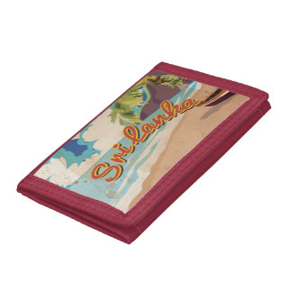 Sri Lanka Vintage Vacation Travel Poster Trifold Wallets