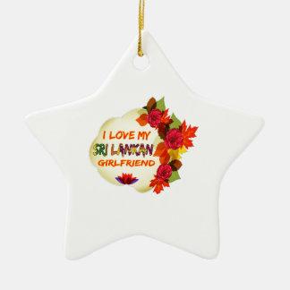 Sri Lankan Girlfriend designs Double-Sided Star Ceramic Christmas Ornament