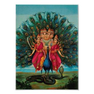Sri Shanmukaha Subramania Swami by Raja Ravi Varma Photo Print