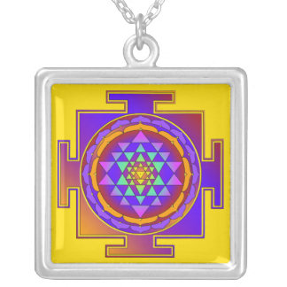 SRI YANTRA full colored + your ideas Silver Plated Necklace