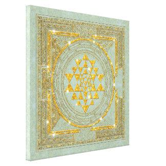 Sri Yantra Golden Glitter - Wrapped Canvas