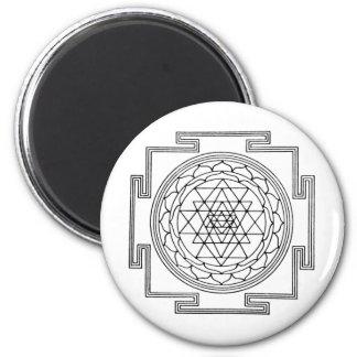 Sri Yantra Mandala 6 Cm Round Magnet