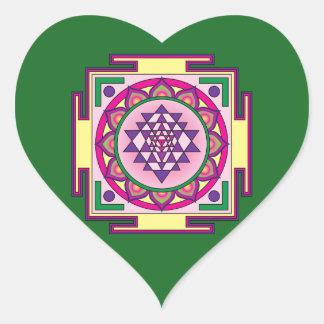 Sri Yantra Mandala Heart Sticker