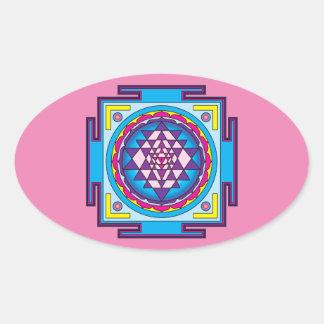 Sri Yantra Mandala Oval Sticker